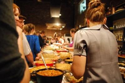 line of casseroles